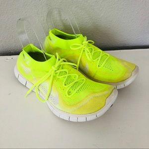 Nike Free Run Neon Yellow Flyknit Running Shoes